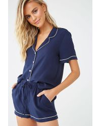 Forever 21 Blue Piped-trim Shirt & Shorts Pj Set