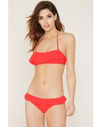 Forever 21 Red Ruffle Low-rise Cheeky Bottoms