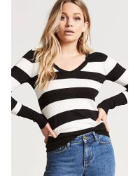 Forever 21 - Black Striped Sweater-knit Top - Lyst