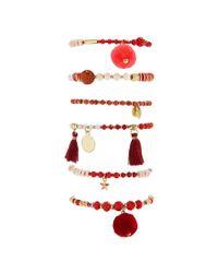 Forever 21 - Red Beaded Charm Stretch Bracelet Set - Lyst