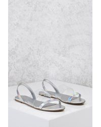 552b57384a3 Forever 21 Holographic Clear Sandals in Metallic - Lyst