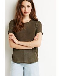 Forever 21 Green Contemporary Heathered Dolphin Hem Tee
