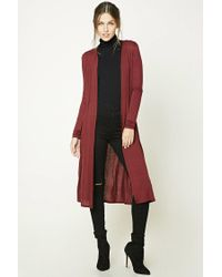 Forever 21 - Red Open-front Longline Cardigan - Lyst