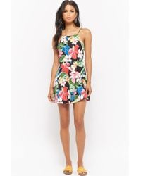 Forever 21 - Black Tropical Floral Fit & Flare Mini Dress - Lyst