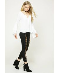 Forever 21 - White Tie-front Tiered Sleeve Top - Lyst