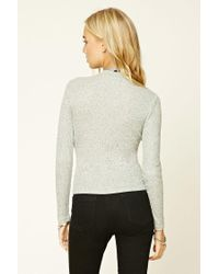 Forever 21 - Gray Marled Knit Top - Lyst