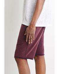 Forever 21 Purple Frayed Drawstring Sweatshorts for men