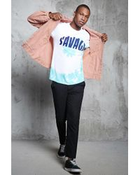 Forever 21 - Pink Distressed Denim Jacket for Men - Lyst