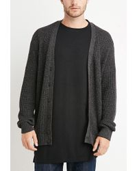 Forever 21 | Gray Marled Patch-sleeve Cardigan for Men | Lyst