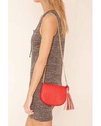 Forever 21 - Red Faux Leather Crossbody Bag - Lyst