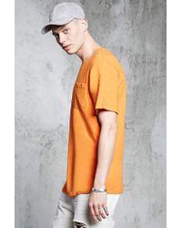 Forever 21 - Orange Slub Knit Pocket Tee for Men - Lyst