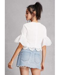 Forever 21 White Bell Sleeve Crop Top