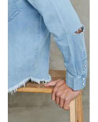 Forever 21 - Blue Frayed Denim Shirt for Men - Lyst