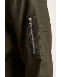 Forever 21 Green Longline Bomber Jacket for men