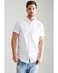 Forever 21 - White Short-sleeved Oxford Shirt for Men - Lyst
