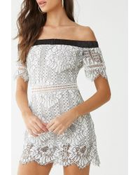 Forever 21 Multicolor Contrast Embroidered Lace Dress , Ivory/black