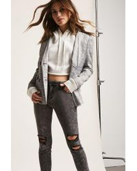 Forever 21 Gray Distressed Acid Wash Jeans