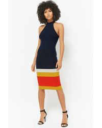 Forever 21 Blue Ribbed Knit Bodycon Dress