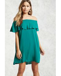 1311872c8c90 Forever 21 Flounce Off-the-shoulder Dress in Green - Lyst