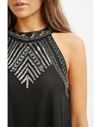 Forever 21 - Metallic Beaded Mesh Top - Lyst