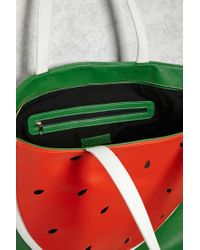 Forever 21 Green Watermelon Faux Leather Tote