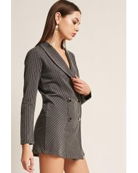 Forever 21 - Gray Stripe Double-breasted Blazer - Lyst