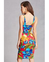 Forever 21 Blue Floral Sweetheart Mini Dress