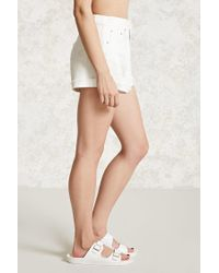 Forever 21 - White Distressed Cuffed Denim Shorts - Lyst