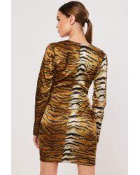 Missguided Multicolor Tiger Print Mini Dress At , Nude/black