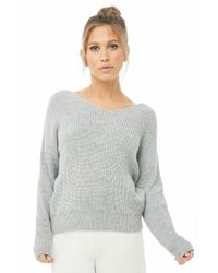 Forever 21 - Gray Ribbed Twist-back Jumper - Lyst