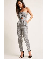 f5e0c36dd59a Forever 21 Glen Check Floral Jumpsuit in Black - Lyst