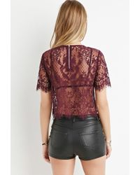 Forever 21 - Purple Scalloped-eyelash Lace Top - Lyst