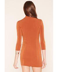 Forever 21 - Orange Mock Neck Mini Dress - Lyst