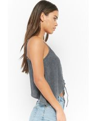 Forever 21 - Gray Lace-up Crescent Hem Top - Lyst
