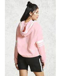 Forever 21 - Pink Varsity Drawstring Hoodie - Lyst