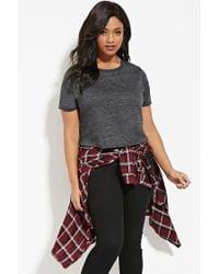 Forever 21 - Gray Plus Size Slub Knit Tee - Lyst