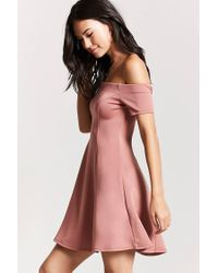 Forever 21 - Purple Off-the-shoulder Mini Dress - Lyst
