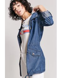 Forever 21 Blue Chambray Longline Button-front Jacket