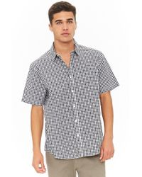 Forever 21 Black 's Fitted Gingham High-low Shirt for men