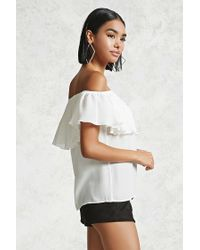 Forever 21 White Crepe Off-the-shoulder Top