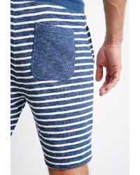 Forever 21 - Blue Texture-striped Drawstring Shorts for Men - Lyst