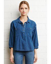 Forever 21 - Blue Striped Denim Boxy Shirt - Lyst