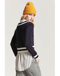 Forever 21 - Blue Stripe V-neckline Jumper Sweater - Lyst