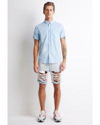 Forever 21   Blue Textured Pocket Shirt for Men   Lyst