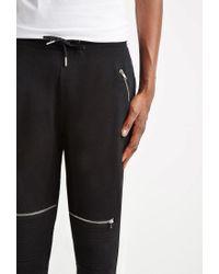 Forever 21 - Black Zippered Moto Sweatpants for Men - Lyst