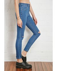 Forever 21 Blue Raw-cut Knee Skinny Jeans