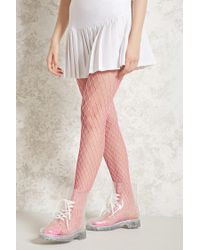 Forever 21 - Pink Neon Oversized Fishnet Tights - Lyst