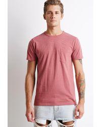Forever 21 Pink Micro-stripe Pocket Tee for men