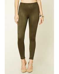 Forever 21 Green Faux Suede Leggings