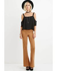 Forever 21 - Natural Ribbed Flared Pants - Lyst
